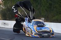 Mar 14, 2015; Gainesville, FL, USA; NHRA funny car driver Matt Hagan during qualifying for the Gatornationals at Auto Plus Raceway at Gainesville. Mandatory Credit: Mark J. Rebilas-