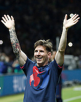 Calcio, finale di Champions League Juventus vs Barcellona all'Olympiastadion di Berlino, 6 giugno 2015.<br /> FC Barcelona's Lionel Messi celebrates at the end of the Champions League football final between Juventus Turin and FC Barcelona, at Berlin's Olympiastadion, 6 June 2015. Barcelona won 3-1.<br /> UPDATE IMAGES PRESS/Isabella Bonotto