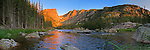Panoramic view of Dream Lake at sunrise. Rocky Mountain National Park, Colorado.