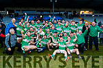 Legion players celebrate after winning the O'Donoghue cup final after defeating Dr Crokes at Fitzgerald Stadium on Sunday.