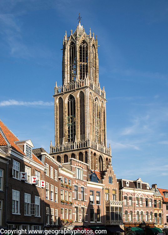 Famous fourteenth century Dom church tower in city of Utrecht, Netherlands
