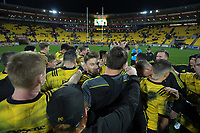 The Hurricanes huddle after winning the Super Rugby quarterfinal between the Hurricanes and Bulls at Westpac Stadium in Wellington, New Zealand on Saturday, 22 June 2019. Photo: Dave Lintott / lintottphoto.co.nz