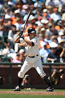 SAN FRANCISCO, CA - JULY 25:  Ryan Theriot #5 of the San Francisco Giants bats against the San Diego Padres during the game at AT&T Park on Wednesday, July 25, 2012 in San Francisco, California. Photo by Brad Mangin