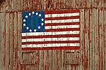 Barn with Revolutionary-era U.S. Flag painted on end