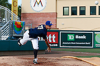 20 September 2012: Quentin Pourcel is seen in the bullpen prior to Spain 8-0 win over France, at the 2012 World Baseball Classic Qualifier round, in Jupiter, Florida, USA.