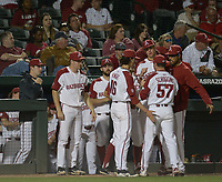 NWA Democrat-Gazette/ANDY SHUPE<br /> Arkansas South Carolina Thursday, April 12, 2018, during the inning at Baum Stadium in Fayetteville. Visit nwadg.com/photos to see more photographs from the game.