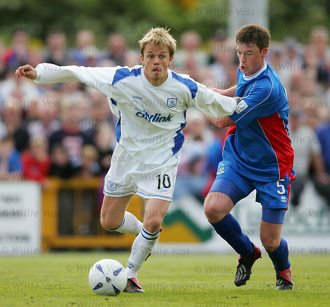 Simon Donnelly, St Johnstone with.Stuart McCaffrey, inverness Caley Thistle.stock season 2003-2004.pic willie vass