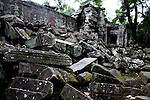 Rubble from a collapsed temple at Ta Prohm in Angkor Thom, Cambodia. June 7, 2013.