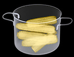 X-ray image of corn-on-the-cob in a pot (color on black) by Jim Wehtje, specialist in x-ray art and design images.