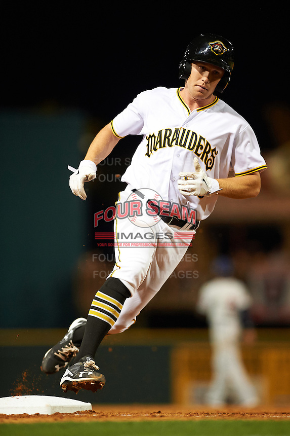 Bradenton Marauders designated hitter Jordan Luplow (26) running the bases during a game against the Fort Myers Miracle on April 9, 2016 at McKechnie Field in Bradenton, Florida.  Fort Myers defeated Bradenton 5-1.  (Mike Janes/Four Seam Images)