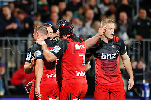 15.04.2016. Christchurch, New Zealand.  The Crusaders c Israel Dagg of the Crusaders try during the Super Rugby Match, Crusaders V Jaguares, AMI Stadium, Christchurch, New Zealand. 15th April 2016.