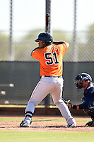 San Francisco Giants third baseman Nathanael Javier (51) during an Instructional League game against the Milwaukee Brewers on October 10, 2014 at Maryvale Baseball Park Training Complex in Phoenix, Arizona.  (Mike Janes/Four Seam Images)