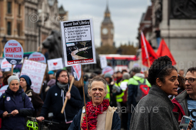 London, 05/11/2016. Today, more than two thousand people gathered outside the British Library to protest against the closure of libraries, museums and galleries by the British Government led by Theresa May. Then, protesters marched peacefully to Trafalgar Square where they held a rally. From the oganisers Facebook event page: &lt;&lt;[&hellip;] Public Libraries and Museums remain the lynchpin of communities, offering access to learning, reading, history, art, information and enjoyment. Libraries are, or should be, trusted public spaces for everyone. They play a crucial role in improving literacy, in combating the digital divide and in widening democratic involvement. BUT, in the UK since 2010, we've LOST: - 8,000 paid and trained library workers; - 343 libraries (600-plus including ones handed to volunteers); and - One in five regional museums at least partially closed. We've also seen: - Libraries' and museums' opening hours cut; - Budgets, education programmes and mobile/ housebound/specialist services slashed; - An escalation in commercialisation and privatisation; - A 93% increase in the use of volunteers in libraries; - Income generation become the priority for almost 80% of museums. This is a crisis and not an opportunity. Users, staff, campaigners and unions need to unite and fight before it's too late. PCS Culture Sector, Unite the Union, Barnet UNISON &amp; Save Barnet Libraries, and Campaign for the Book have been calling for a national demonstration to highlight the 'clear and present danger' to our national Library service [&hellip;]&gt;&gt;. The demo was supported by the Labour leader Jeremy Corbyn and by the French Trade Union &quot;la CGT&quot; (General Confederation of Labour, Conf&eacute;d&eacute;ration g&eacute;n&eacute;rale du travail).<br /> <br /> For more information please click here: http://bit.ly/2e8v3Yb