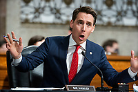 """United States Senator Josh Hawley (Republican of Missouri) questions former United States Deputy Attorney General Rod Rosenstein during a Republican-led Senate Judiciary Committee hearing on """"Crossfire Hurricane,"""" the FBI's probe into Russian election interference and the 2016 Trump campaign in the Dirksen Senate Office Building in Washington, DC, USA, 03 June 2020.<br /> Credit: Jim LoScalzo / Pool via CNP/AdMedia"""