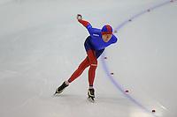 SCHAATSEN: HEERENVEEN: Thialf, 4th Masters International Speed Skating Sprint Games, 25-02-2012, Ramir Kuramshin (M75) 1st, ©foto: Martin de Jong