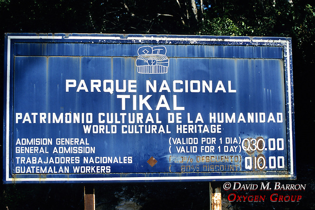 Tikal Park Sign