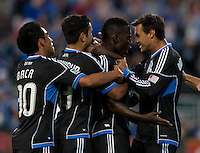 Santa Clara, California - Saturday August 25th, 2012: San Jose Earthquakes celebrating after Simon Dawkin's goal during a game against Colorado Rapids at Buck Shaw Stadium, Stanford, Ca    San Jose Earthquakes defeated Colorado Rapids 4 - 1