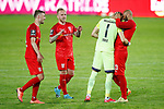 09.06.2020, xtgx, Fussball 3. Liga, Hallescher FC - SV Waldhof Mannheim emspor, v.l. Jan Washausen (Halle, 21), h23, Kai Eisele (Halle, 1), Terrence Boyd (Halle, 13) Jubel ueber den Sieg, Jubel nach Spielende  beim Spiel in der 3. Liga, Hallescher FC - SV Waldhof Mannheim.<br /> <br /> Foto © PIX-Sportfotos *** Foto ist honorarpflichtig! *** Auf Anfrage in hoeherer Qualitaet/Aufloesung. Belegexemplar erbeten. Veroeffentlichung ausschliesslich fuer journalistisch-publizistische Zwecke. For editorial use only. DFL regulations prohibit any use of photographs as image sequences and/or quasi-video.