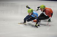 SHORTTRACK: DORDRECHT: Sportboulevard Dordrecht, 25-01-2015, ISU EK Shorttrack, Relay Men Final, Victor AN (RUS | #60), Sandor LIU SHAOLIN (HUN | #37), ©foto Martin de Jong
