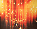 Backdrop featuring twinkling stars on an orange and red background