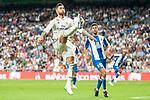 Real Madrid Sergio Ramos and RCD Espanyol Didac Vila during La Liga match between Real Madrid and RCD Espanyol at Santiago Bernabeu Stadium in Madrid, Spain. September 22, 2018. (ALTERPHOTOS/Borja B.Hojas)