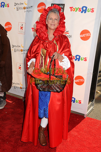 "Jamie Lee Curtis.18th Annual ""Dream Halloween"" To Benefit The Children Affected By AIDS Foundation held at Barker Hangar, Santa Monica, California, USA, .29th October 2011 .hallowe'en costume dressed-up full length red hood basket red riding hood cape .CAP/ADM/BP.©Byron Purvis/AdMedia/Capital Pictures."
