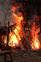 Losar bonfire at a Buddhist  Monastery in Sikkim India