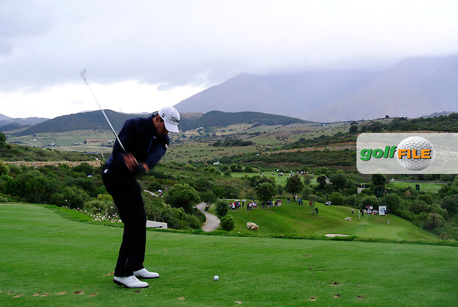 Rafael Cabrera-Bello (ESP) tees off on the par3 10th tee during Sunday morning's Semi Final Matches of the Volvo World Matchplay Championship at Finca Cortesin, Casares, Spain 20th May 2012 (Photo Eoin Clarke/www.golffile.ie)