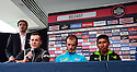 Giro d'Italia Big Start (Grande Partenza) top riders gather for a press conference at Belfast's Waterfront Hall, Belfast, Northern Ireland, Friday 9th May, 2014.  Seen left to right Nicholas Roche, Michelle Scarponi and Nairo Quintana. Ireland will host three days of cycling action from 9 to 11 May 2014.