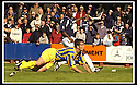 31/8/02       Collect Pic : James Stewart                     .File Name : stewart-falkirk v qots 08.QUEEN OF THE SOUTH'S DEREK ALLAN HEADS THE BALL INTO HIS OWN NET TO SCORE FALKIRK'S SECOND GOAL....James Stewart Photo Agency, 19 Carronlea Drive, Falkirk. FK2 8DN      Vat Reg No. 607 6932 25.Office : +44 (0)1324 570906     .Mobile : + 44 (0)7721 416997.Fax     :  +44 (0)1324 570906.E-mail : jim@jspa.co.uk.If you require further information then contact Jim Stewart on any of the numbers above.........