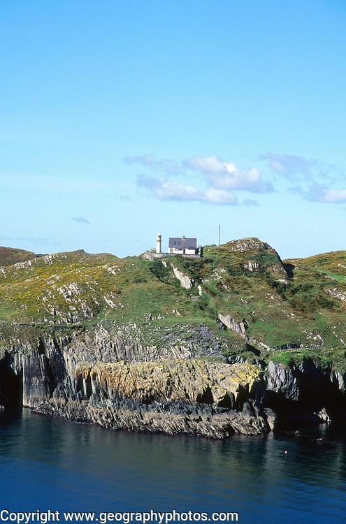 Sherkin Island cliffs lighthouse, Baltimore, County Cork, Ireland