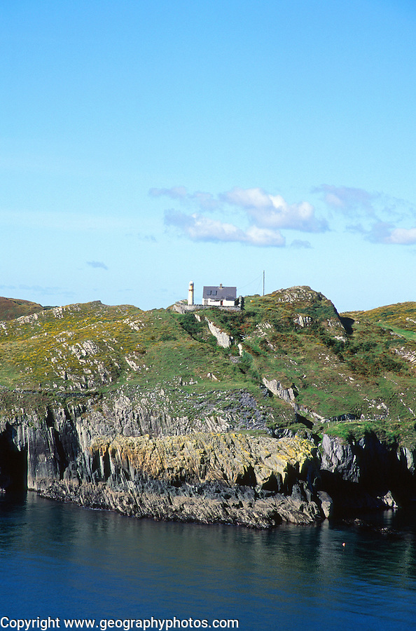 Sherkin Island cliffs lighthouse, Baltimore, County Cork, Ireland