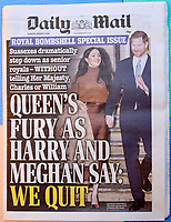 09/01/2020 - Prince Harry Duke of Sussex and Meghan Markle Duchess of Sussex front page cover story in the Daily Mail newspaper. Photo Credit: ALPR/AdMedia