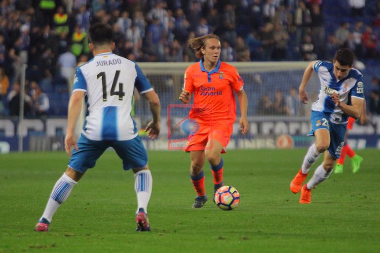 League Santander 2016/2017. Game: 27.<br /> RCD Espanyol vs UD Las Palmas: 4-3.<br /> Jurado, Alen Halilovic &amp; Aaron.