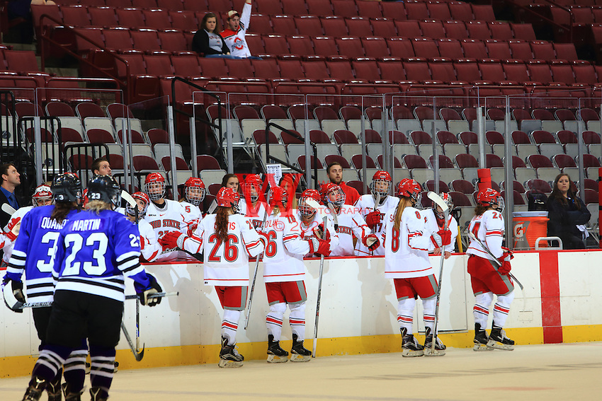 The Ohio State University women's ice hockey team defeated Minnesota State University 5-3 at the Schottstein Center. October 23, 2015.