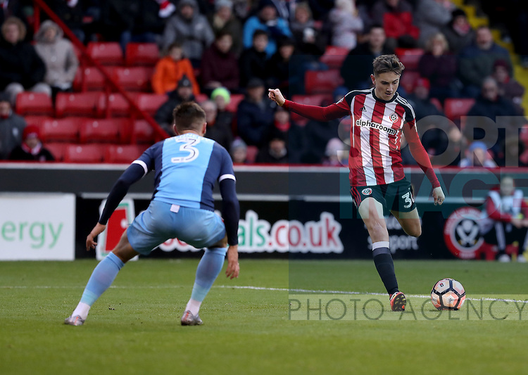 David Brooks of Sheffield United takes at shot on goal during the Emirates FA Cup Round One match at Bramall Lane Stadium, Sheffield. Picture date: November 6th, 2016. Pic Simon Bellis/Sportimage