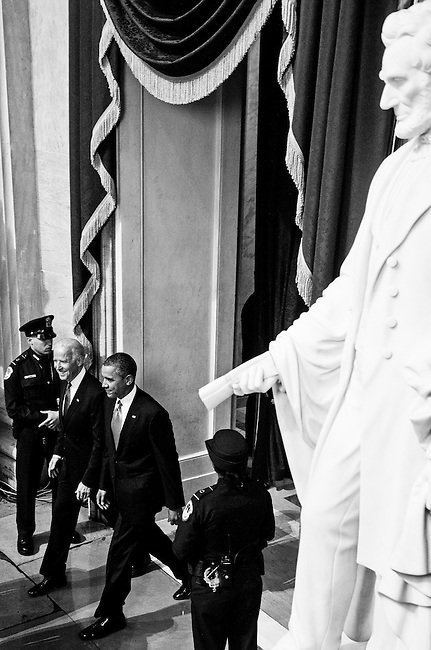 President Barack Obama and Vice President Joe Biden arrive in the Rotunda following the inauguration ceremony on the West Front of the Capitol on Monday, Jan. 21, 2013. (Photo By Bill Clark/CQ Roll Call)