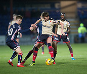 2nd December 2017, Global Energy Stadium, Dingwall, Scotland; Scottish Premiership football, Ross County versus Dundee; Dundee's Scott Allan holds the ball despite the attentions of Ross County's Davis Keillor-Dunn and Ross County's Jamie Lindsay
