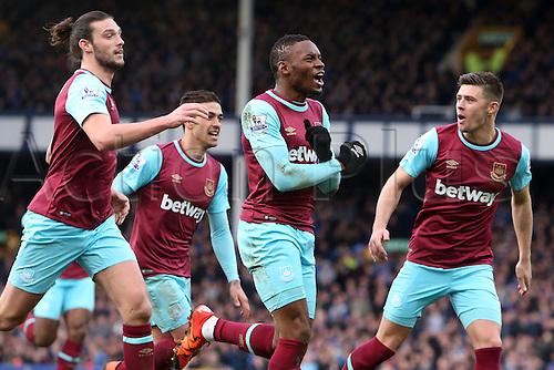 05.03.2016. Goodison Park, Liverpool, England. Barclays Premier League. Everton versus West Ham. Diafra Sakho of West Ham United celebrates his goal with team mates.