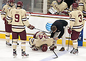 Johnny Gaudreau (BC - 13), Brendan Silk (BC - 9), Bill Arnold (BC - 24), Bert Lenz (BC - Director, Sports Medicine), Patch Alber (BC - 3) - The Boston College Eagles defeated the visiting University of Vermont Catamounts to sweep their quarterfinal matchup on Saturday, March 16, 2013, at Kelley Rink in Conte Forum in Chestnut Hill, Massachusetts.