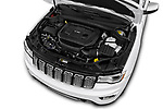 Car stock 2017 Jeep Grand Cherokee Overland 5 Door SUV engine high angle detail view