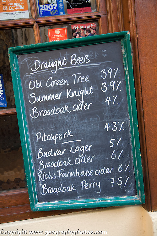 Beer menu written in chalk on blackboard, Old Green Tree pub, Green Street, Bath, England