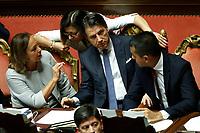Luciana Lamorgese, Paola De Micheli, Giuseppe Conte and Luigi Di Maio<br /> Rome September 10th 2019. Senate. Discussion and Trust vote at the new Government. <br /> Foto  Samantha Zucchi Insidefoto
