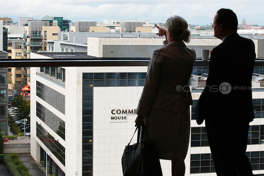 7/9/2010. Convention Centre opens. Delagates are pictured looking at the view of the city  at the official opening of the Dublin Convention Centre. Picture James Horan/Collins