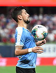 Giorgian De Arrascaeta of Uruguay settles the ball during an international friendly game against the USA  on September 10, 2019 at Busch Stadium in St. Louis, Missouri USA<br /> AFP Photo by Tim VIZER