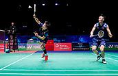 17th March 2018, Arena Birmingham, Birmingham, England; Yonex All England Open Badminton Championships; Zhang Nan (CHN) and Li Yinhui (CHN) high-five each other in their semi-final match against Yuta Watanabe (JPN) and Arisa Higashino (JPN)
