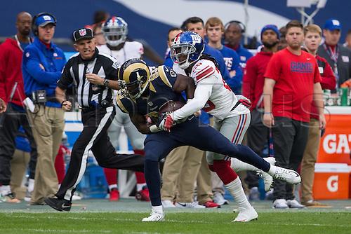 23.10.2016. Twickenham, London, England. NFL International Series. New York Giants versus LA Rams. Los Angeles Rams wide receiver Brian Quick and New York Giants defensive back Janoris Jenkins.