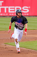 Cedar Rapids Kernels outfielder Shane Carrier (44) runs to third base during a Midwest League game against the Kane County Cougars on April 21, 2018 at Perfect Game Field at Veterans Memorial Stadium in Cedar Rapids, Iowa. Kane County defeated Cedar Rapids 9-2. (Brad Krause/Four Seam Images)