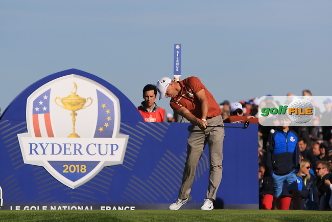 Alex Noren (Team Europe) at the 12th tee during Saturday Foursomes at the Ryder Cup, Le Golf National, Ile-de-France, France. 29/09/2018.<br /> Picture Thos Caffrey / Golffile.ie<br /> <br /> All photo usage must carry mandatory copyright credit (© Golffile | Thos Caffrey)