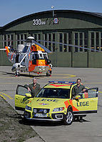 Anesthesiologist Hallstein Sørebø (left) and rescue paramedic Kenneth Steemers. Crew from Norwegian Air Force 330 squadron, flying Westland Sea King helicopter. The core mission of the squadron is SAR (search and rescue), but they also fly HEMS (Helicopter Emergency Medical Service), complementing the civilian air ambulance service.<br />